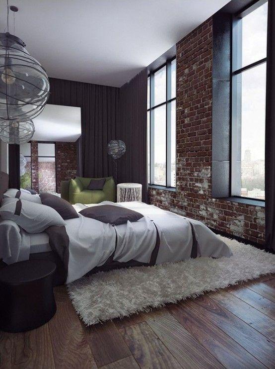 65 imponerande sovrum med tegelväggar    DigsDigs    Tegelvägg.