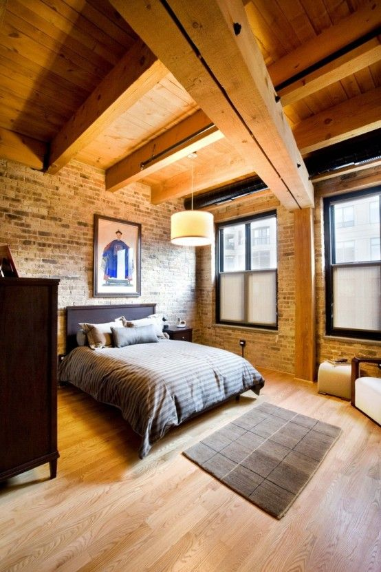 75 imponerande sovrum med tegelväggar    Sovrum i tegelvägg, Chic.