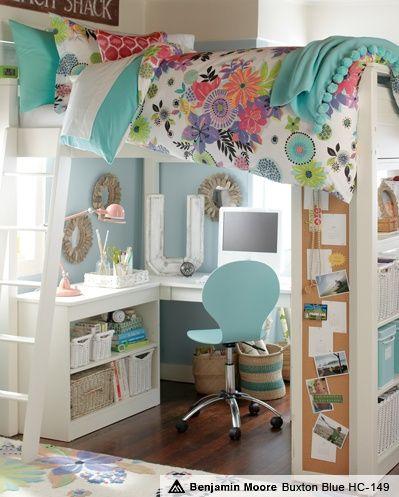 Skrivbordsidéer för barnrum |  Flickaloftsäng, Flickrum.