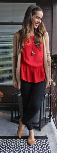 röd blus crepe kofta svart chiffong kjol