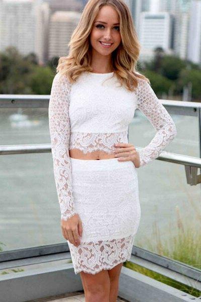 vit spets topp med matchande figur-kramar minikjol