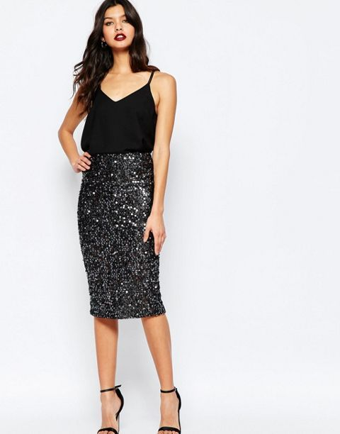 Paljett kjol svart linne