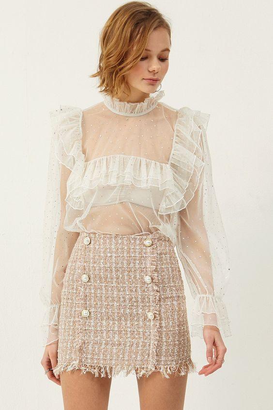 Romantisk tweed kjol