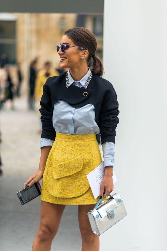 Gul tweed kjol