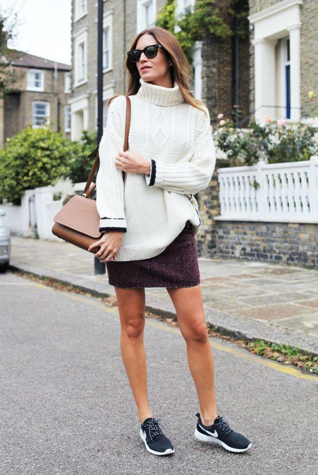 Tweed kjol sneakers