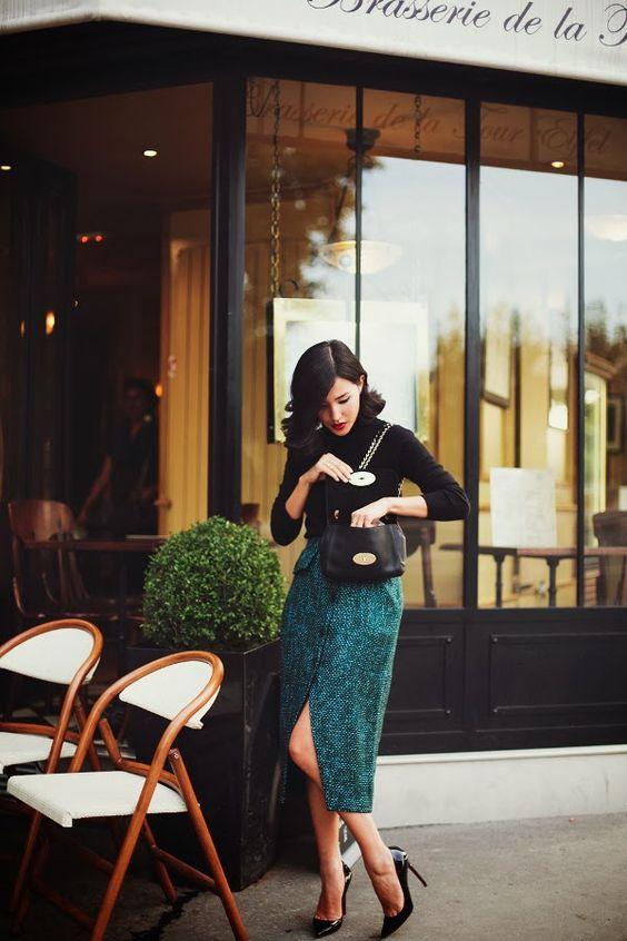 Tweed kjol grön svart
