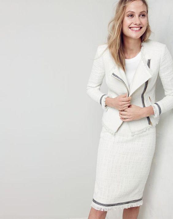 Tweed kjol vit kostym