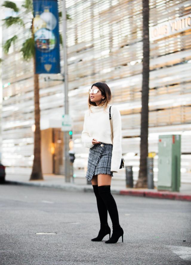 Tweed kjol lår hög