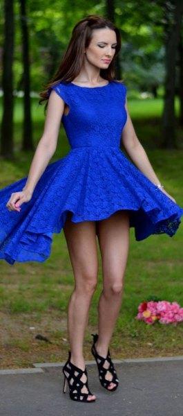fit och flare kungsblå mini-cocktailklänning med öppna tåband