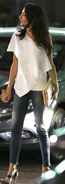 off shoulder vita draperade skinny jeans