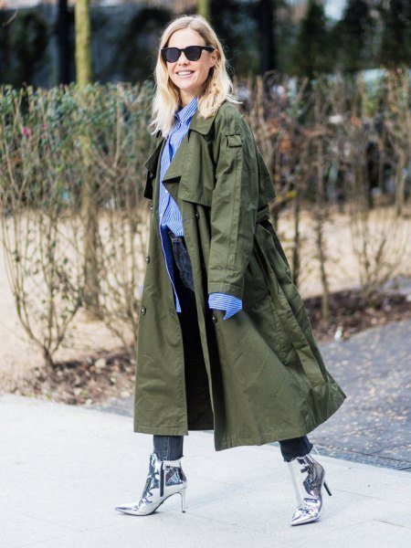 brun maxi trenchcoat outfit