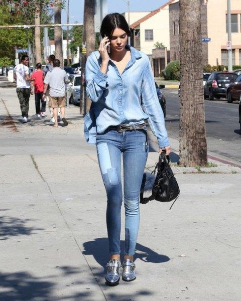Jeansskjorta jeans korta silverstövlar