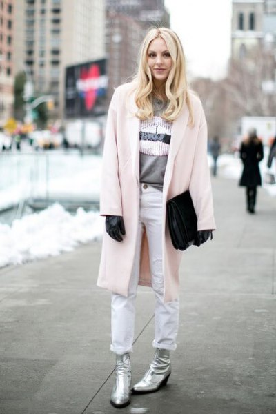 Elfenben lång kofta vita skinny jeans