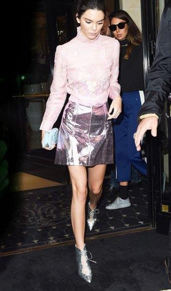 vit spets kjol silver läder mini kjol