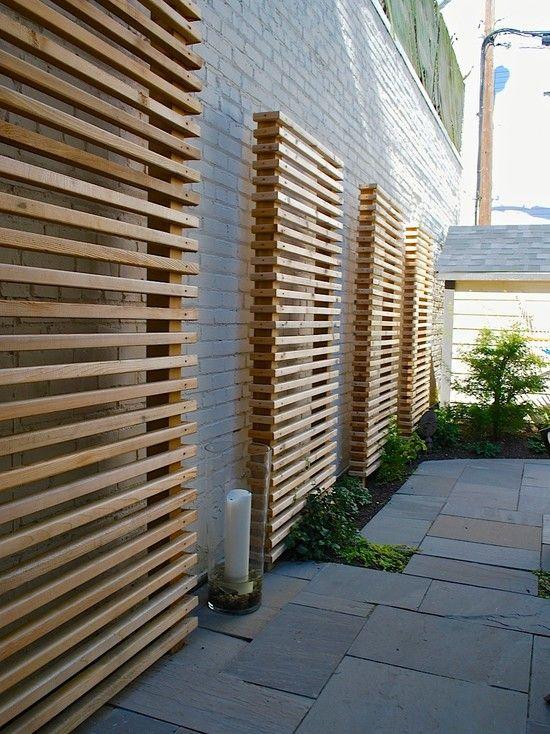 Häftiga trä samtida idéer för screening av trädgårdslandskap med.
