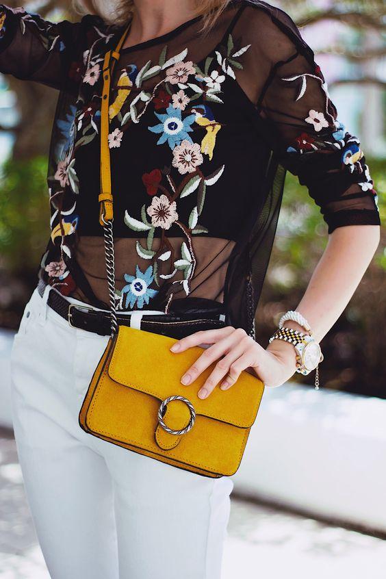 broderad mesh topp vit jeans gul ficka