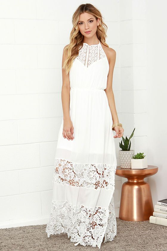 vit spets grimma klänning maxi
