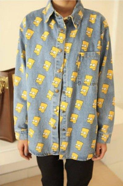 Simpsons tryckt chambray vintage skjorta med svarta jeans