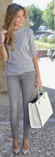grå t-shirt halsband med långa ärmar
