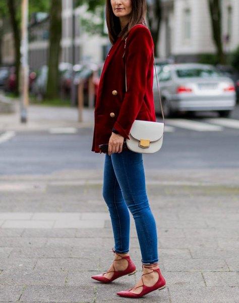 brun corduroy dubbelbredd kostym med blå sammet skinny jeans