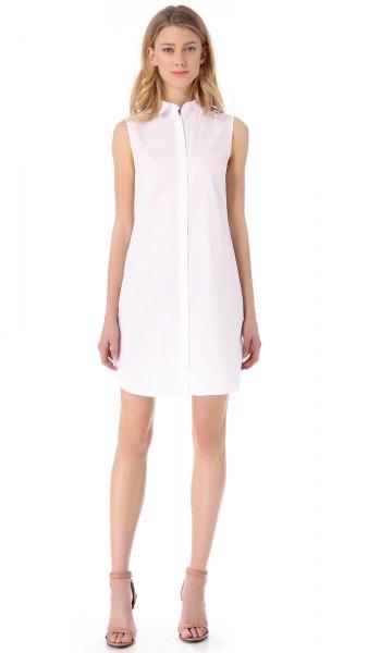 ärmlös skjortklänning i vit chiffong, ljusrosa, klackar med öppen tå