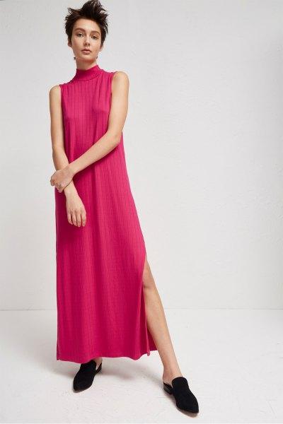 blush pink mock neck hög slits maxiklänning