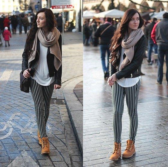 svarta och vita leggings stövlar i läderjacka