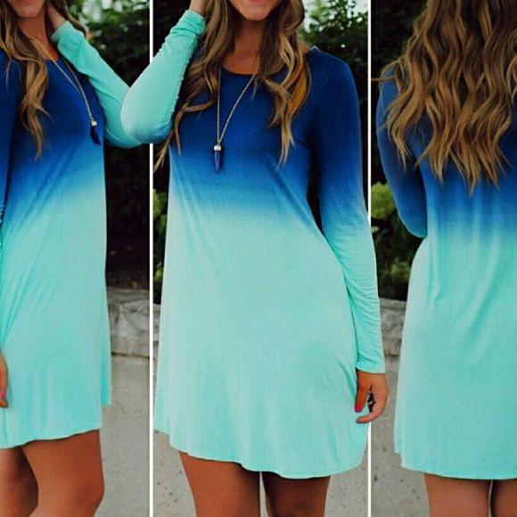 Pretty Tie Dye Dip Dye Ombre 'mjuk klänning eller tunika |  Mjuk klänning.