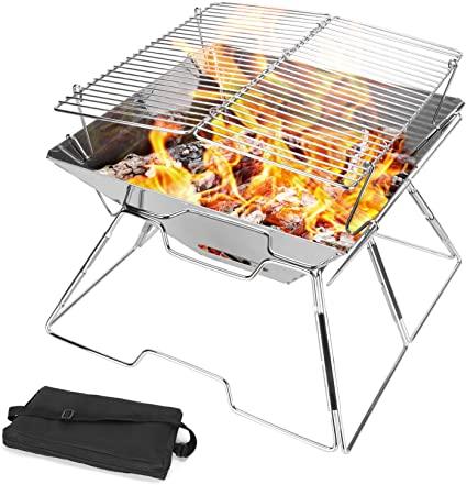 Amazon.com: Odoland Folding Campfire Grill, Camping Fire Pit.