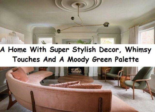 Ett hem med super stilfull inredning, snygga detaljer och en humörig grön.