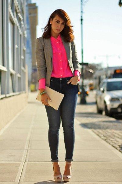 Rouge skjorta med grå kavaj
