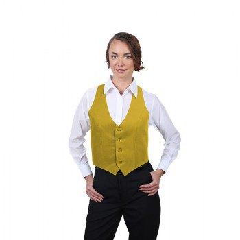 kort formell väst i guld med vit skjorta med knappar