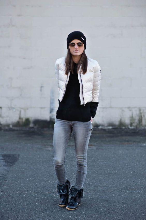 Pälsfodrade stövlar, korta jeans