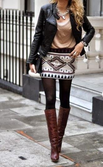 svart motojacka svartvitt minikjol
