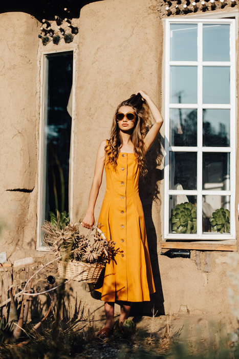 Button Down Yellow Summer Dress Outfit