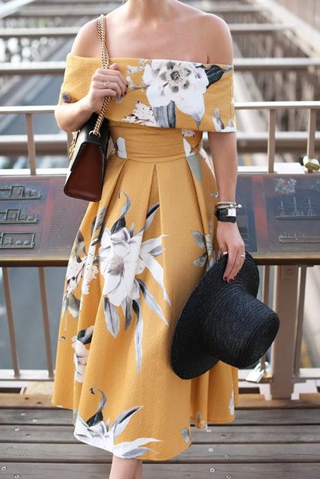 ladylike gul sommarklänning
