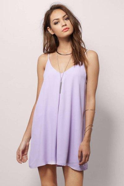 Babyblå Chiffong Mini Cami-klänning