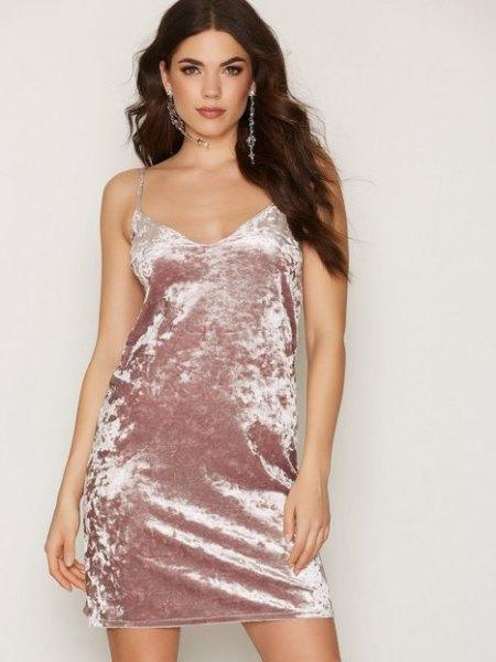 Rosa guld sammet klänning i sammet