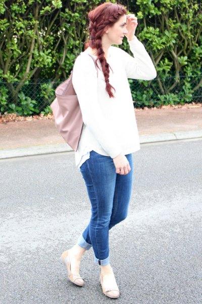 vita stickade tröjor manschetter jeans rosa ballerinor