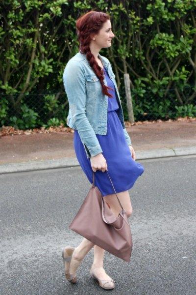 Balettskor blå knälång klänning