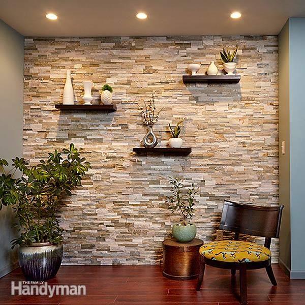 Skapa en Faux Stone Accent Wall |  Stenmurar interiör, sten.