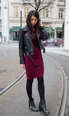 svart jacka burgundy bodycon knälång klänning