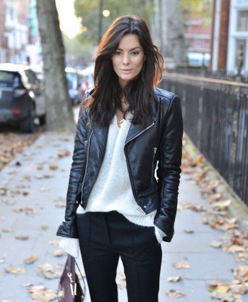 svart bikerjacka vit chiffongskjorta