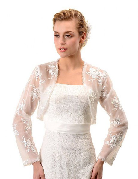 långärmad vit spets axelbröllopsklänning med bälte