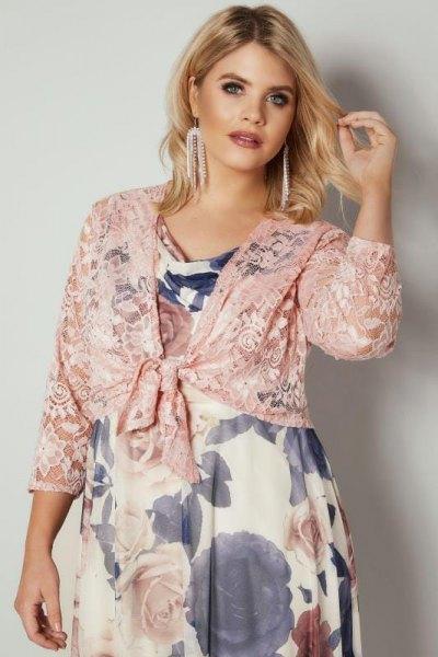 rosa axelband blommig babydoll klänning