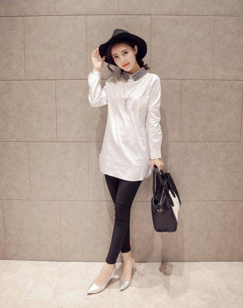 lång skjorta med vit paljettkrage och leggings