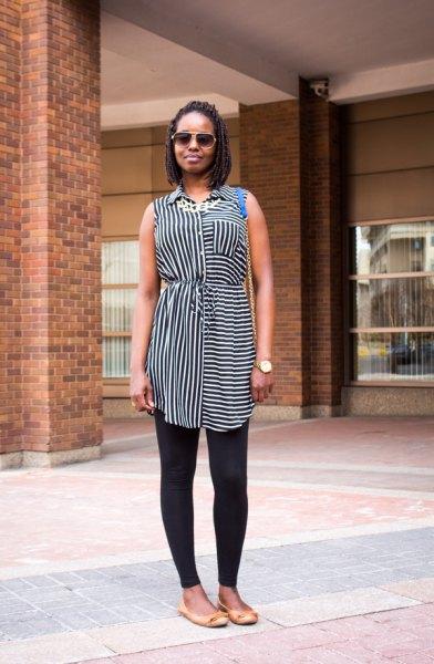 svartvit randig ärmlös lång skjorta med leggings
