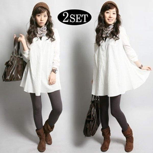 Flared skjorta med vit knapp och rutig halsduk och grå leggings