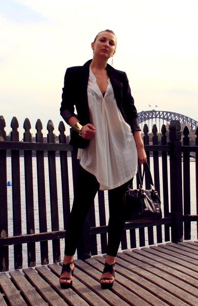 vit, halvtransparent lång chiffongskjorta med kavaj och leggings