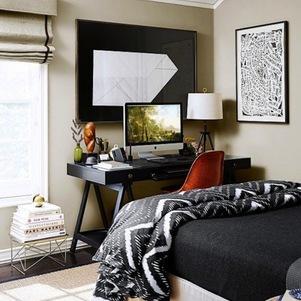Sovrums coola sovrum och arbetsytor i en arbetsutgåva.